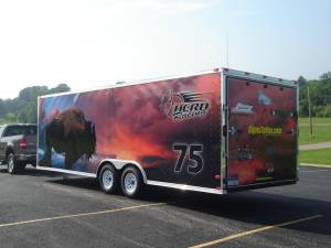 Enclosed trailer vinyl wrap